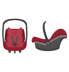 Black and red kid car seat front and side views vector