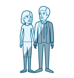 Blue color silhouette shading of man and woman vector