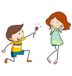 Boy giving flower to girlfriend vector image