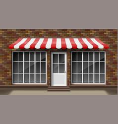 Brick small 3d store front facade template vector
