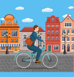 businessman riding a bicycle vector image