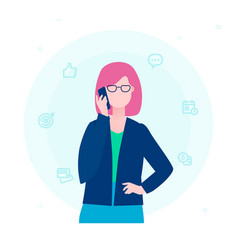 businesswoman talking on the phone - flat design vector image
