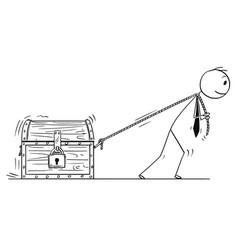cartoon businessman pulling locked treasure vector image