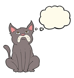 Cartoon grumpy little dog with thought bubble vector