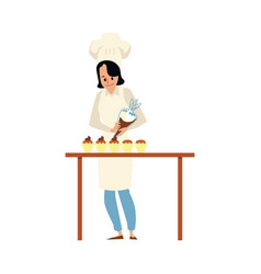 cartoon pastry chef putting icing on cupcake vector image