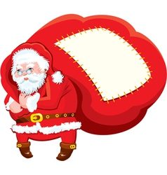 Cartoon Santa Claus with huge sack full of gifts vector image