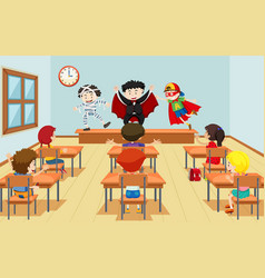 Children in drama class vector