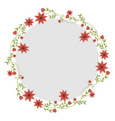 Circular frame with creepers and red flowers vector