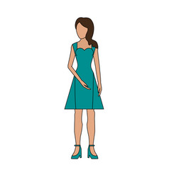 color image realistic silhouette faceless woman vector image