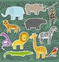 cute cartoon tropical and jungle animals stickers vector image