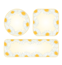 Daisies banners and buttons with a flowers vector image