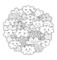 Doodle clouds circle shape pattern for coloring vector