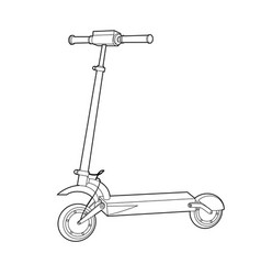 Electric scooter line icon wheel scooter vector
