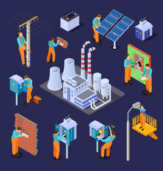 electrical station and electricians workers vector image