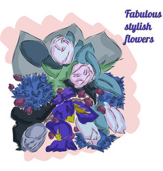 fabulous fashion sketch of flowers in blue colour vector image