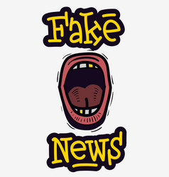 fake news screaming mouth hand drawn doodle style vector image