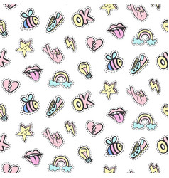 fashionable patches seamless pattern vector image