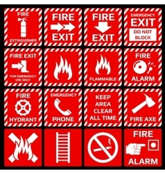 Fire alarm symbols set vector