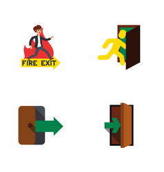 Flat icon emergency set of entrance directional vector