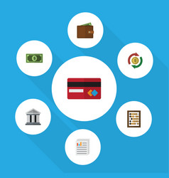 flat icon finance set of greenback interchange vector image