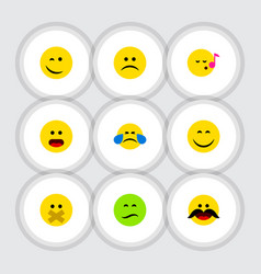 flat icon gesture set of frown wonder cheerful vector image