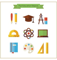 Flat School and Education Objects Set vector image
