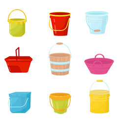 flat set of colorful buckets plastic vector image