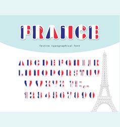 france font french flag colors paper cutout vector image