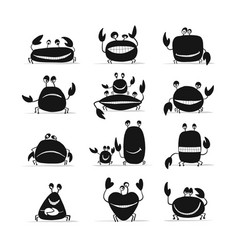 funny crabs set sketch for your design vector image