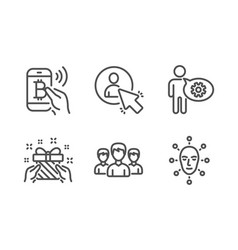 Gift bitcoin pay and cogwheel icons set group vector