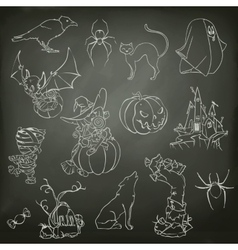 halloween sketches icons vector image
