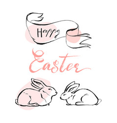 hand drawn abstract happy easter greeting vector image