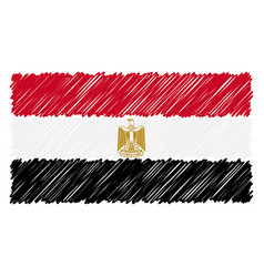 hand drawn national flag of egypt isolated on a vector image