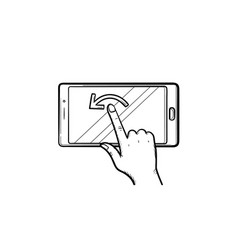 hand touching smartphone screen hand drawn outline vector image
