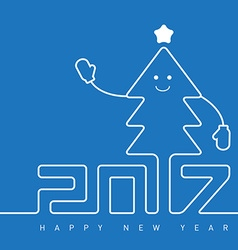 Happy New Year greeting card with smiling vector image