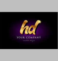 hd h d 3d gold golden alphabet letter metal logo vector image