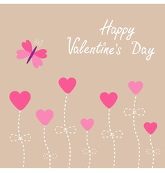 Heart flowers Butterfly Valentines Day vector image