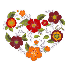 heart made of flowers elements vector image
