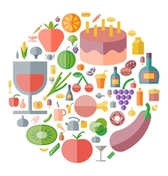 icons shape flat food drinks vector image