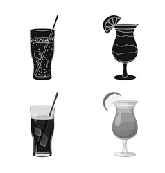 Isolated object of drink and bar sign collection vector