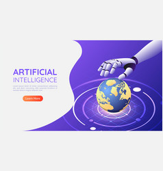 Isometric web banner ai robotic hand control the vector