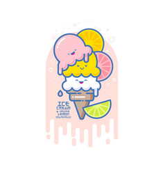Kawaii smiled ice cream orange lime vector
