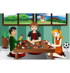 Kids playing puzzles vector