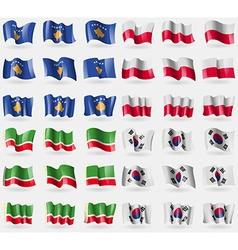 Kosovo Poland Chechen Republic Korea South Set of vector