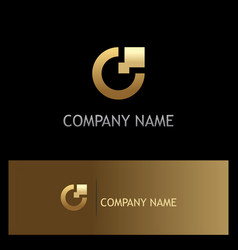 Letter c digital technology gold logo vector