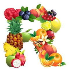 Letter r composed different fruits with leaves vector