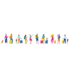 Line people couples and families with suitcase vector