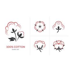 Linear cotton icon set vector