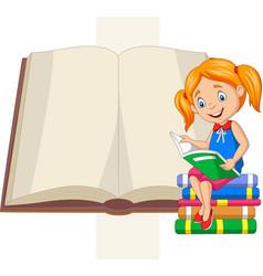 little girl reading books sitting on pile books vector image