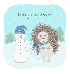 Lovely hedgehog and a snowman vector